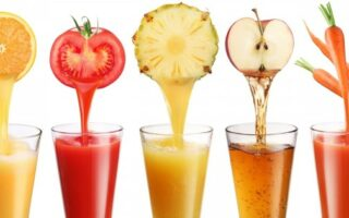 Fruits and Vegetables being made into juice