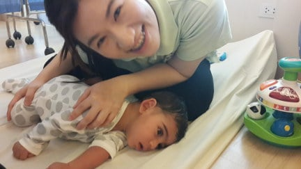 Cerebral Palsy patient Zidane with therapist